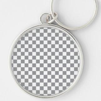 Damier gris porte-clé rond argenté