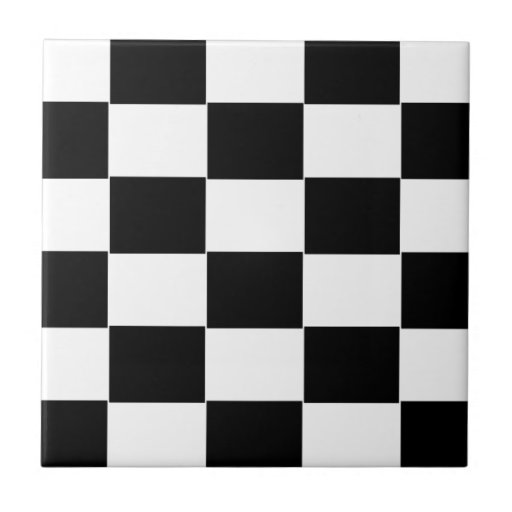 damier noir et blanc carreau en c ramique zazzle. Black Bedroom Furniture Sets. Home Design Ideas