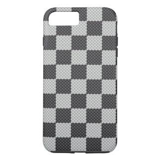 Damier noir et gris de fibre de carbone coque iPhone 7 plus