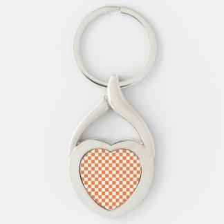 Damier orange porte-clé argenté cœur torsadé