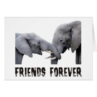 D'amis étreindre d'éléphants pour carte de vœux