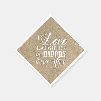 D'amour de rire mariage de toile de jute serviettes en papier