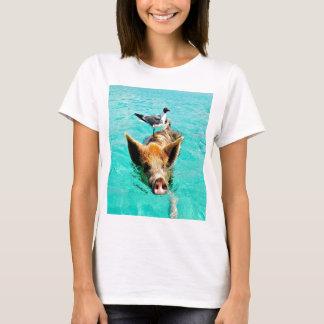 D'amusement fis de mouette de porc de natation de t-shirt