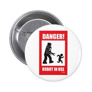 Danger ! Bouton en service de robot Badge Rond 5 Cm