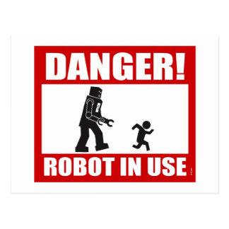 Danger ! Carte postale en service de robot