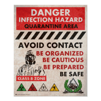 Danger ! Région de risque d'infection Posters
