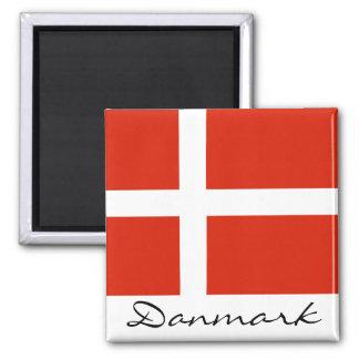 Danmark avec Dannebrog Magnet Carré