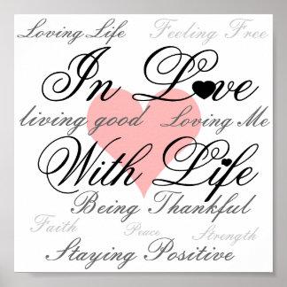 Dans l'amour avec l'affiche de la vie poster