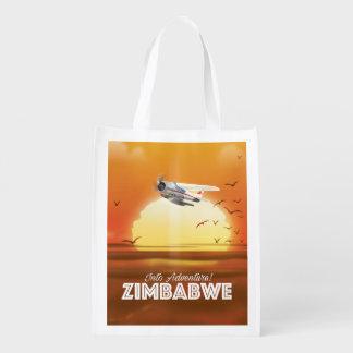 Dans l'aventure ! Affiche de voyage du Zimbabwe Sacs D'épicerie Réutilisables