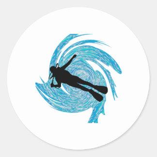 Dans le bleu sticker rond