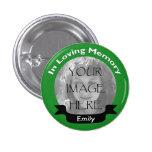 Dans le bouton affectueux de vert de photo de mémo badges