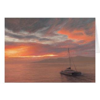 Dans le coucher du soleil de Maui - carte de note