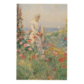 Dans le jardin par Hassam impressionisme vintage Impression Sur Bois