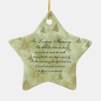Dans le mémorial affectueux de la mort de sapins ornement étoile en céramique