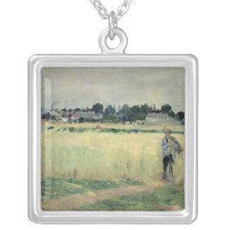 Dans le Wheatfield chez Gennevilliers, 1875 Pendentif Carré