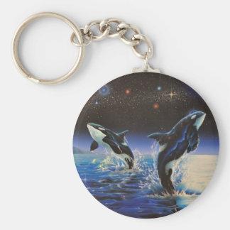Dansant dans les étoiles, porte - clé porte-clé rond