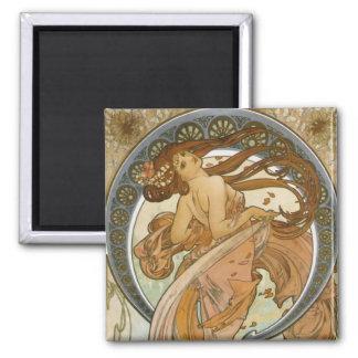 Danse (1898), beaux-arts Nouveau d'Alphonse Mucha Magnet Carré