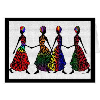 Danse africaine de fraternité carte de vœux