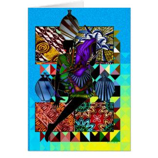 Danse africaine de vase à jour du marché carte de vœux