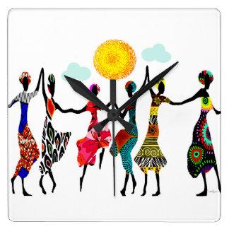 Danse africaine d'éloge horloge carrée