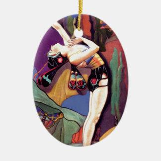 Danse avec des papillons ornement ovale en céramique