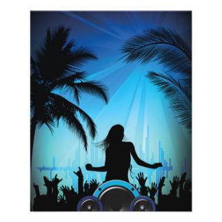 danse c de musique de plage de partie de la plage prospectus 11,4 cm x 14,2 cm