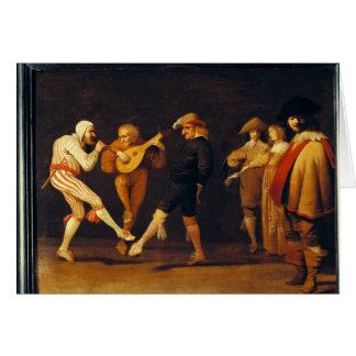 Danse d'acteurs de farce carte de vœux