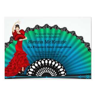 Danse de flamenco carton d'invitation  12,7 cm x 17,78 cm