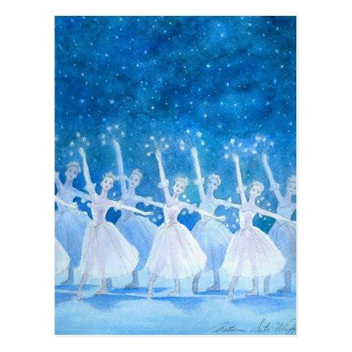 Danse de la carte postale de flocons de neige