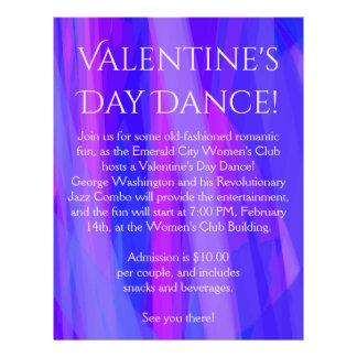 Danse de Saint-Valentin ! Bleu, rose, et violette Prospectus 21,6 Cm X 24,94 Cm