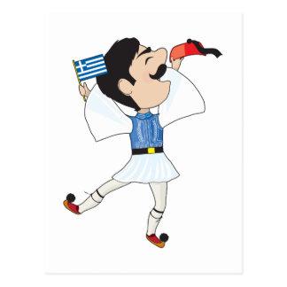 Danse d'Evzone de Grec avec le drapeau Carte Postale