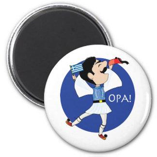 Danse d'Evzone de Grec avec le drapeau OPA ! Magnet Rond 8 Cm