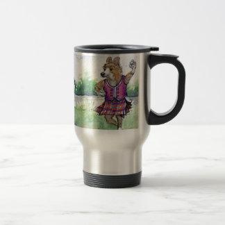 Danse écossaise de chien de corgi de Gallois Mug De Voyage