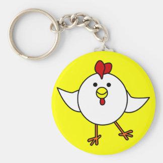 Danse mignonne de poulet - blanc et jaune porte-clé