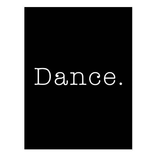 Danse. Modèle noir et blanc de citation de danse Cartes Postales