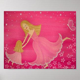 Danse par crépuscule - art d'enfants de la mère posters