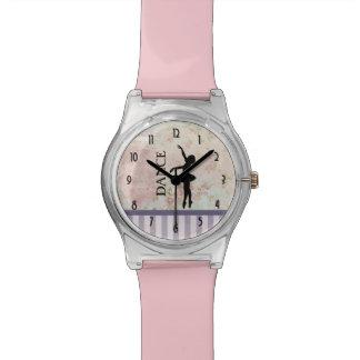 Danse - silhouette de ballerine sur l'arrière - montres bracelet