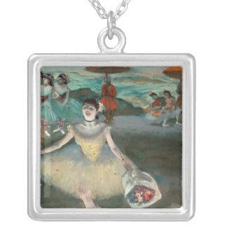 Danseur d'Edgar Degas   avec le bouquet, faisant Pendentif Carré