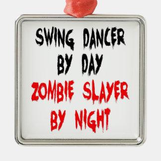 Danseur d'oscillation de tueur de zombi ornement carré argenté