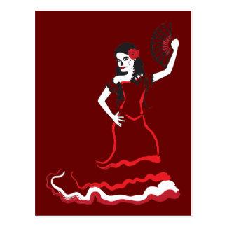 danseur espagnol de crâne de sucre carte postale