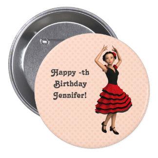 Danseur mignon de flamenco (personnalisé) badge avec épingle