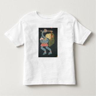 Danseur tissé de laine avec le bâton, tribu de t-shirt pour les tous petits