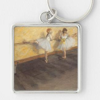Danseurs à la barre par Edgar Degas, ballet Porte-clé Carré Argenté