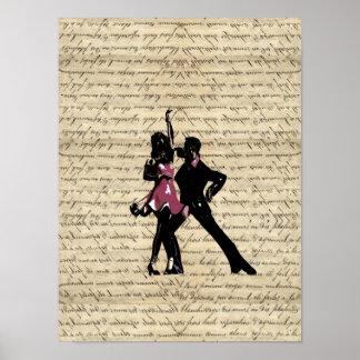 Danseurs de salle de bal sur le papier vintage affiche
