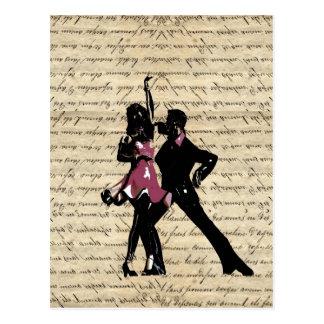 Danseurs de salle de bal sur le papier vintage carte postale
