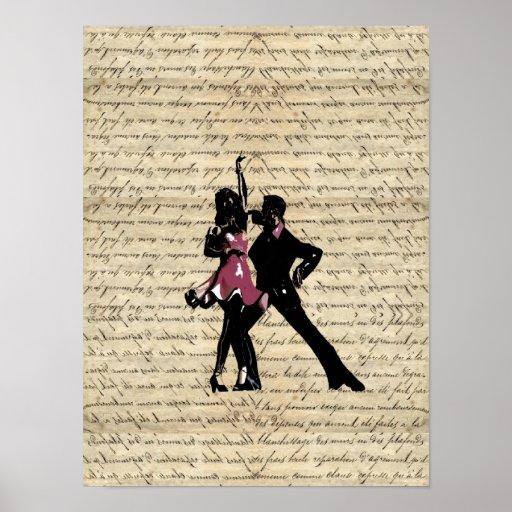 Danseurs de salle de bal sur le papier vintage poster