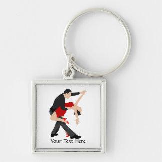 Danseurs de tango (customisés) porte-clé carré argenté