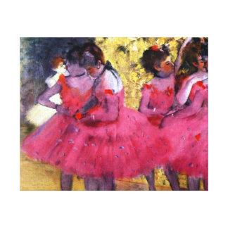 Danseurs d'Edgar Degas dans le rose Toiles
