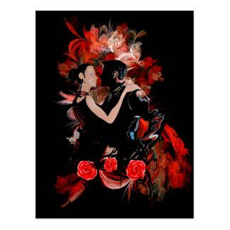 Danseurs romantiques de tango sur la fractale cartes postales