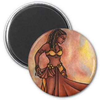 Danseuse du ventre de soeur de Nubian Magnet Rond 8 Cm